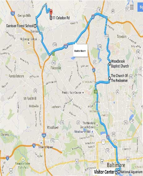 Inner Harbour/Roland Park/ Ruxton Route (draft) Route by Kangaroo Coach